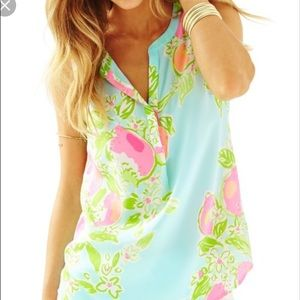 Lilly Pulitzer Pink Lemonade Top in Pool Blue NWT